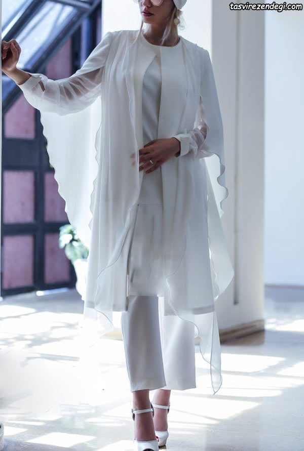 مدل مانتو مجلسی زیبا, مانتو سفید نامزدی