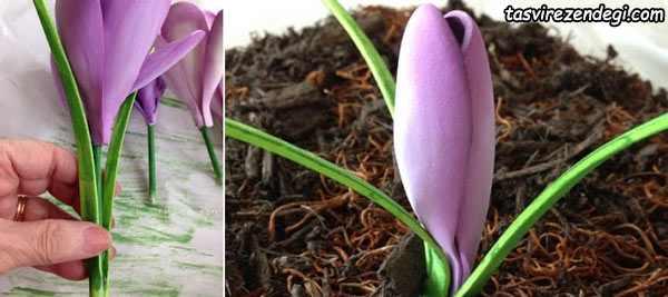 آموزش ساخت گل زعفران با فوم