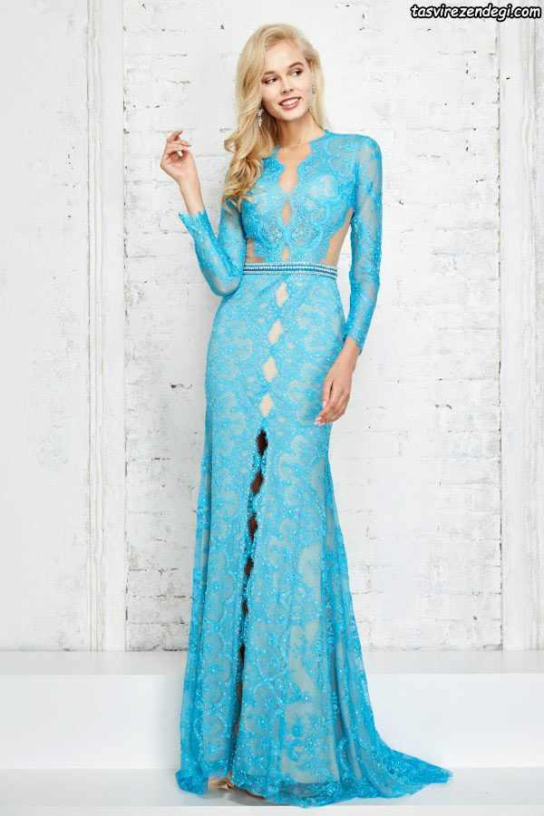 مدل لباس مجلسی حریر گیپور آبی