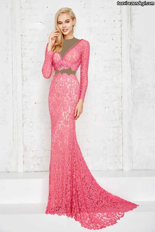 مدل لباس مجلسی گیپور صورتی دامن دنباله دار