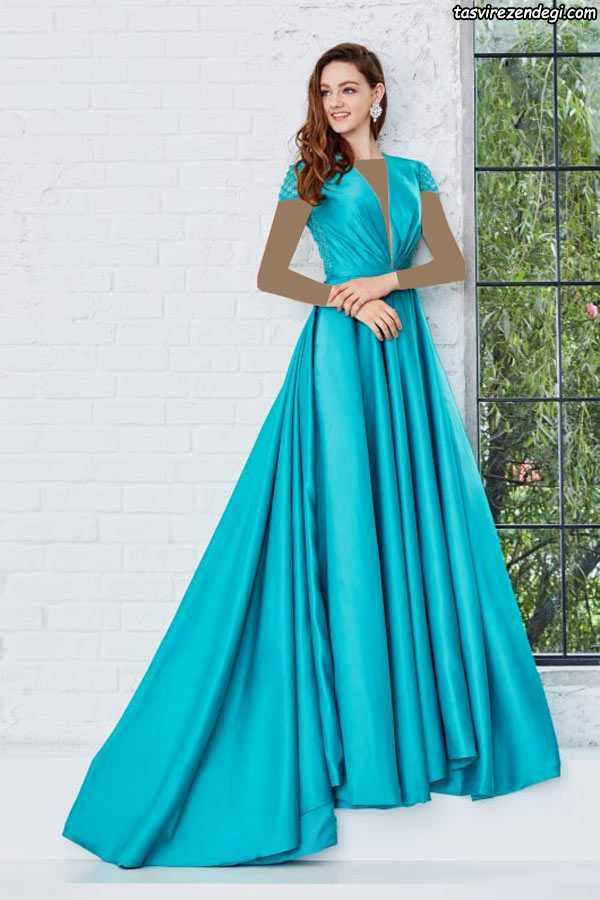 مدل لباس مجلسی بلند شیک ساتن فیروزه ای