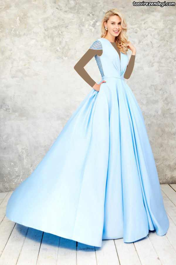 مدل لباس مجلسی بلند شیک آبی روشن