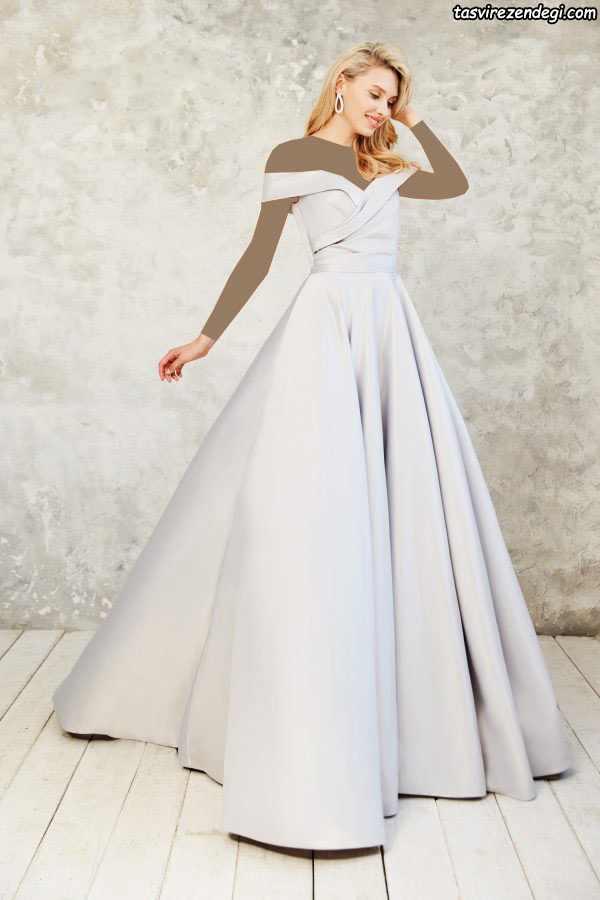 مدل لباس مجلسی بلند شیک سفید