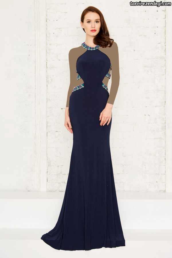 مدل لباس مجلسی بلند شیک بند گردنی