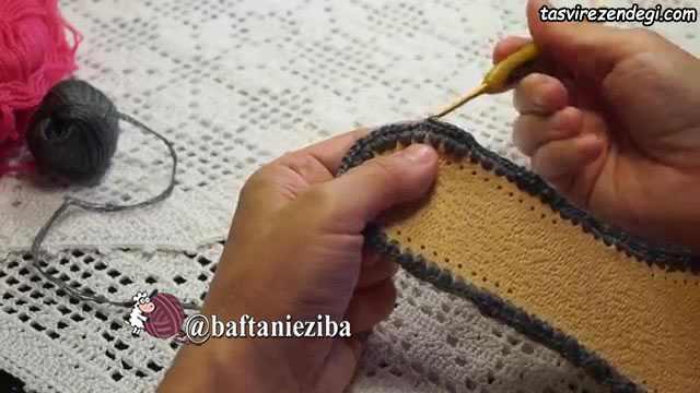 آموزش بافت کفش روفرشی قلاب بافی