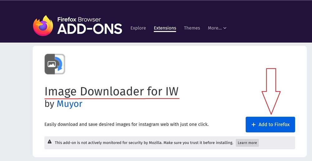 آموزش نصب افزونه موزیلا فایرفاکس Image Downloader for IW برای دانلود عکس از اینستاگرام