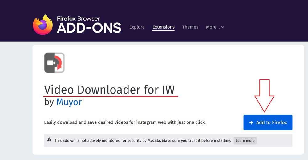 آموزش نصب افزونه موزیلا فایرفاکس Video Downloader for IW برای دانلود ویدیو و فیلم از اینستاگرام