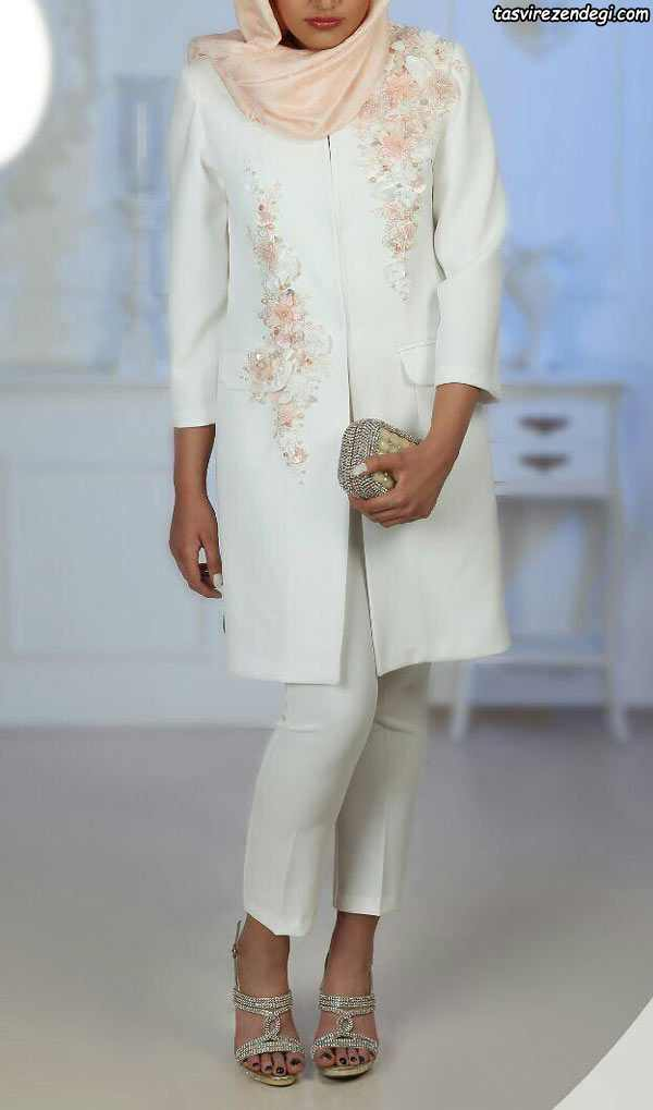 مدل مانتو سفید مجلسی برای محضر