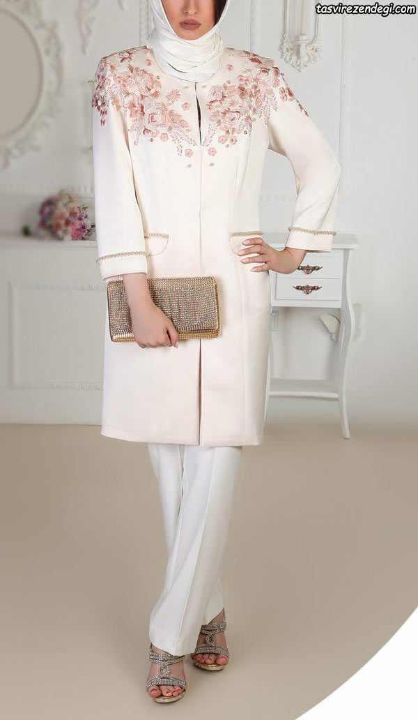 مانتو مجلسی سفید , مدل مانتو عروس