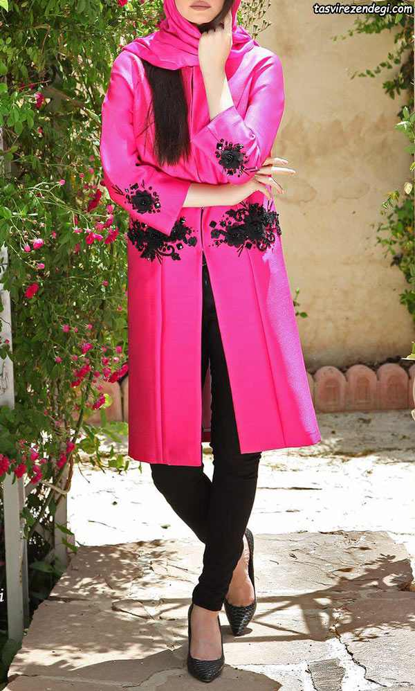 مدل مانتو مجلسی دو رنگ دخترانه