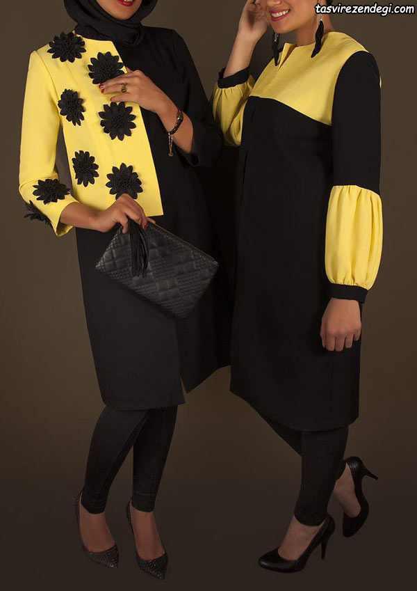 مدل مانتو مجلسی دو رنگ مشکی و زرد