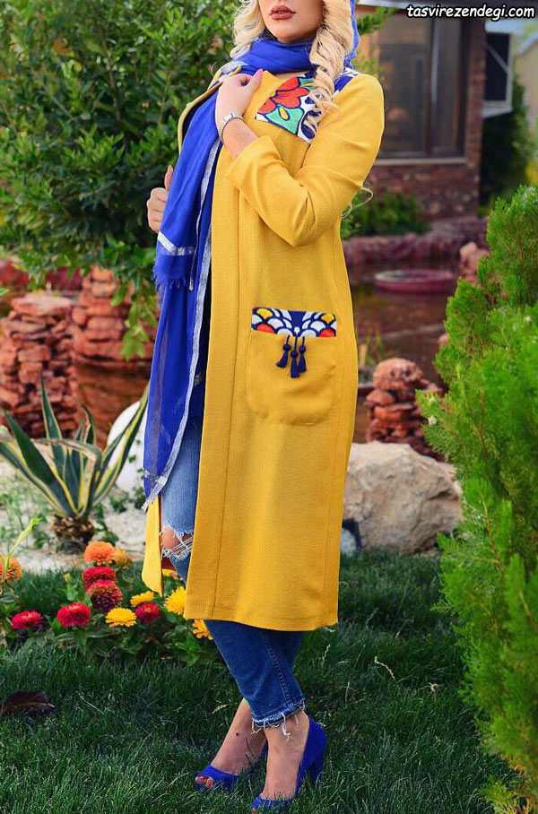 مدل مانتو مجلسی زرد بلند