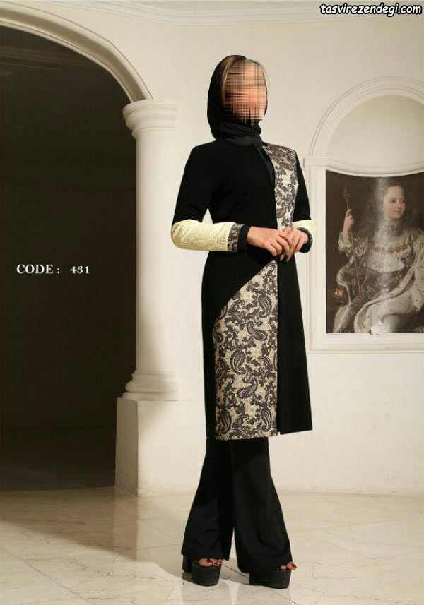 مدل مانتو کتی دو رنگ مجلسی