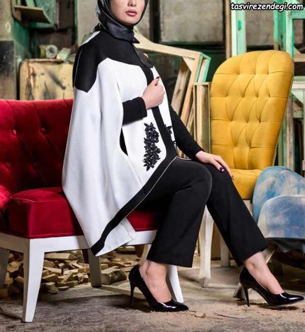 مدل مانتو شنلی مجلسی سفید