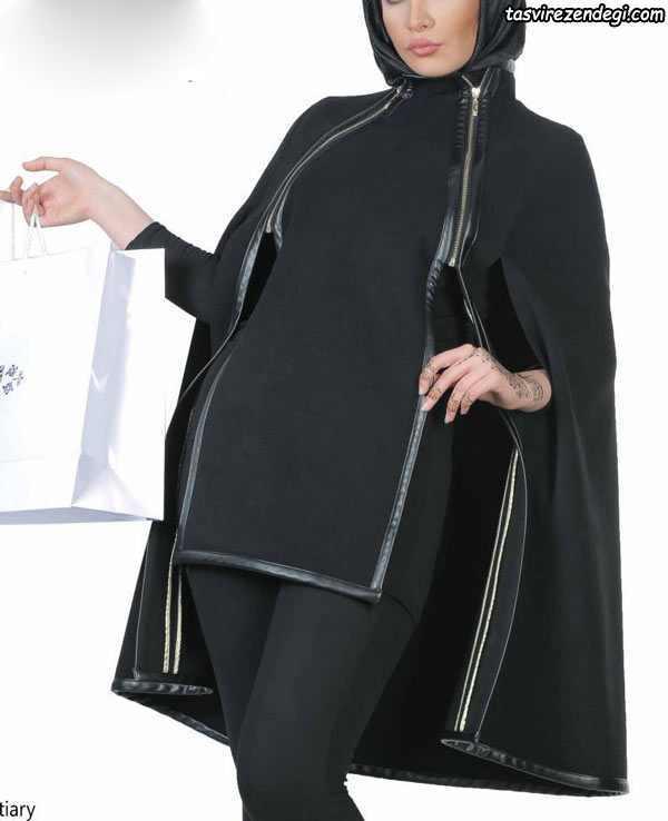 مدل مانتو شنلی مجلسی مشکی