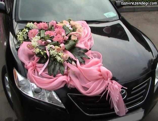 تزیین ماشین عروس مشکی با پارچه و گل