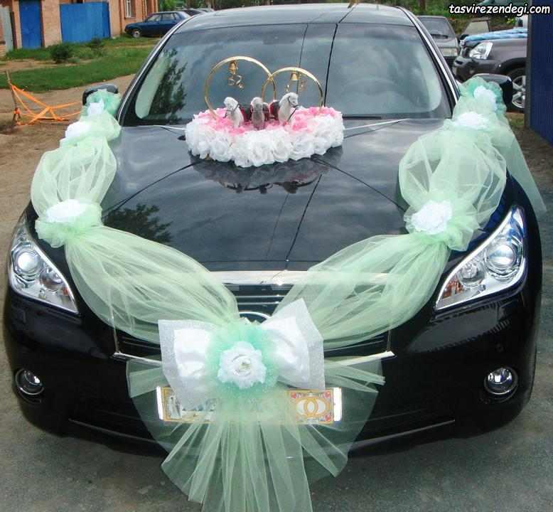 تزیین ماشین عروس مشکی با پاپیون تور