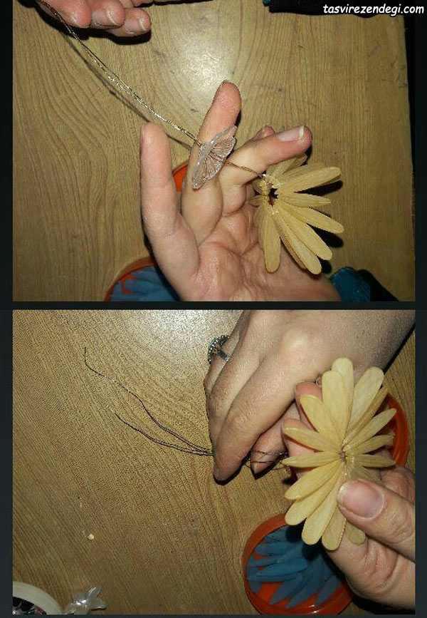 آموزش ساخت گل داوودی دو رنگ