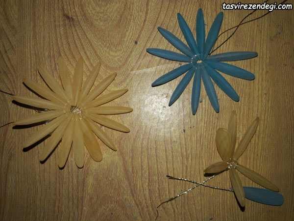 آموزش ساخت گل داودی دو رنگ