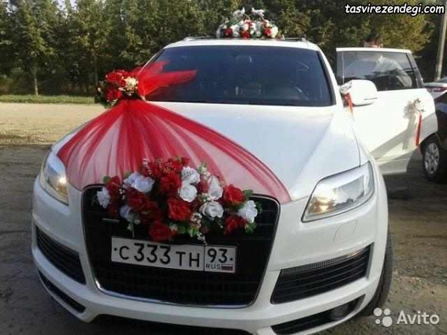تزیین ماشین عروس با گل و تور