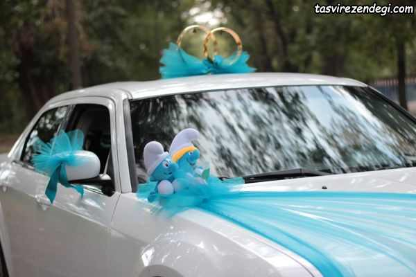 تزیین ماشین عروس با تور و گل