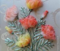 آموزش روبان دوزی, دوخت گل با روبان شیشه ای