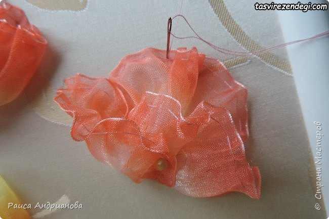 تزیین کوسن با گل روبانی, آموزش دوخت گل با روبان شیشه ای