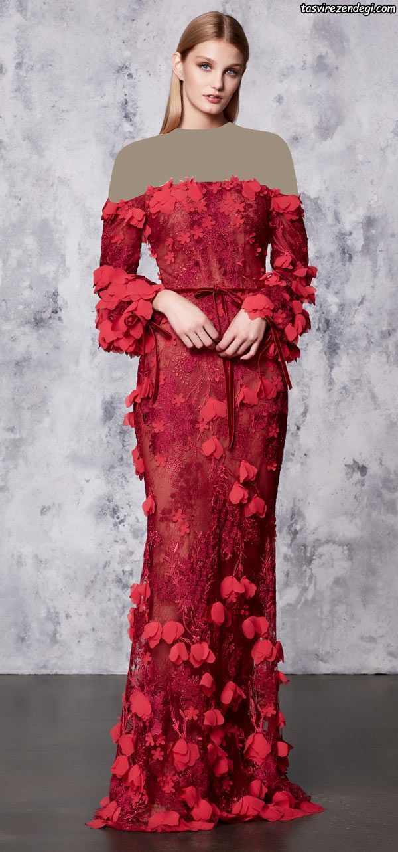 مدل لباس شب گل برجسته