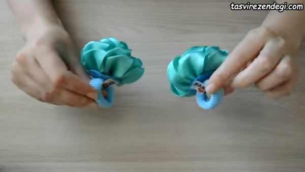 آموزش ساخت کش موی سر گل رز روبانی