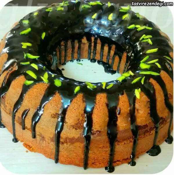کیک ساده دو رنگ