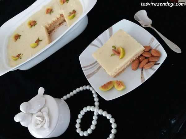کیک بیسکویت محلبی انجیری