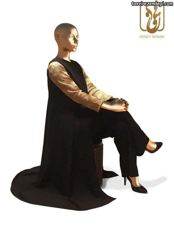 مدل مانتو بلند مشکی مجلسی رسمی