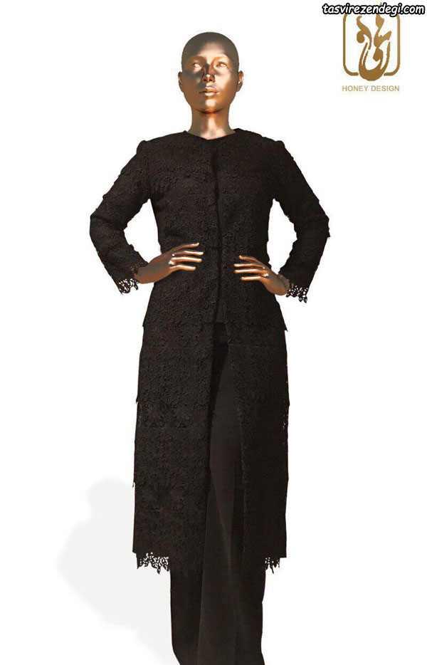 مدل مانتو بلند مشکی رسمی