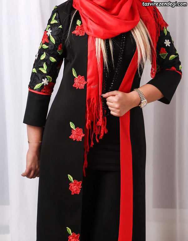 مدل مانتو تیره با طرح گل رز ایرانی