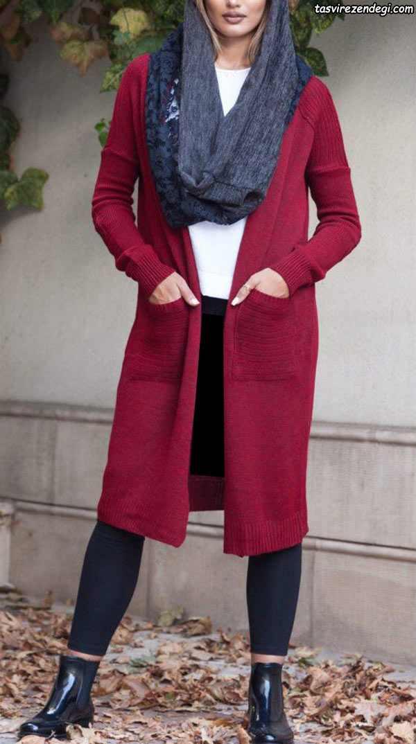 مدل مانتو بافت و پاییزه قرمز