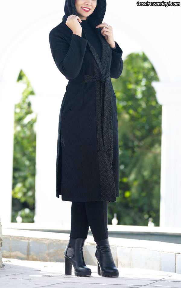 مدل مانتو بافت زمستانی مشکی