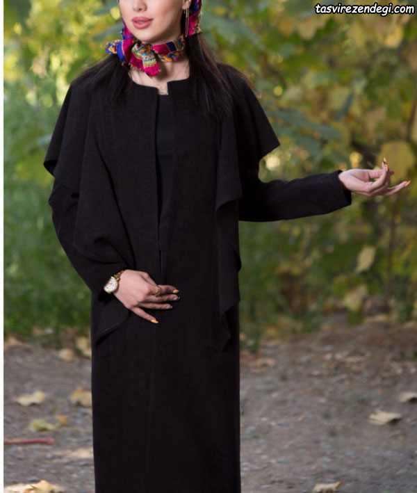 مانتو مخمل مشکی شنل دار , مانتو مخمل پاییزه
