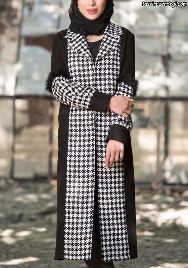 مدل مانتو زمستانه جدید سفید مشکی