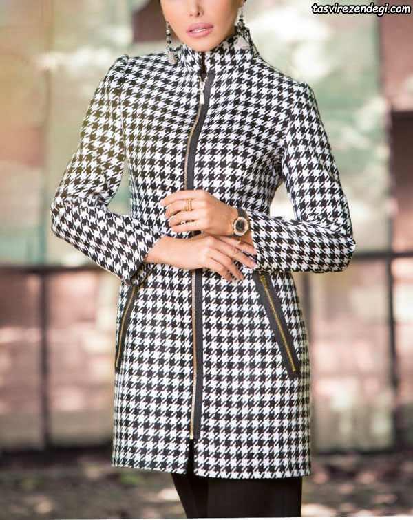 مدل مانتو زمستانی چهارخانه پشمی , مانتو کوتاه زیپ دار