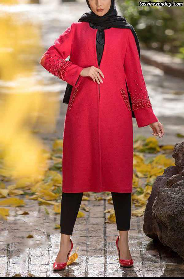مدل مانتو پاییزه قرمز شیک