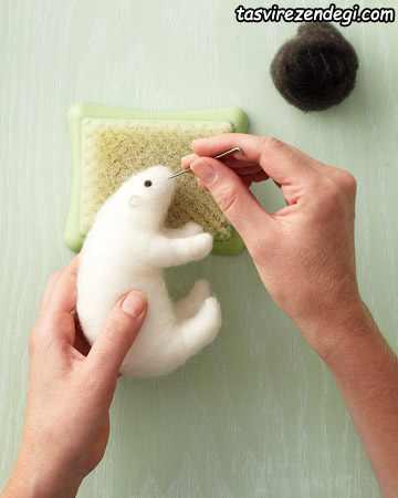 آموزش کچه دوزی , ساخت خرس قطبی کچه ای