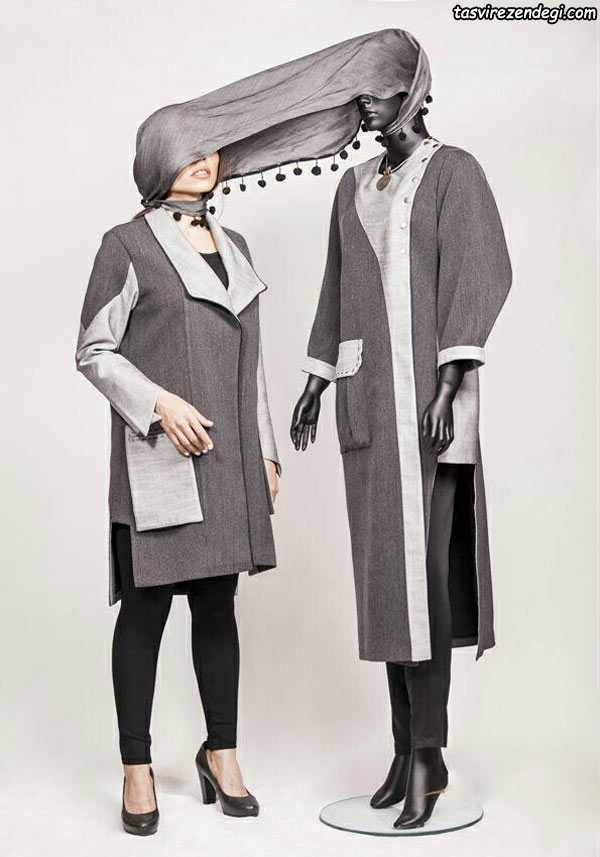 مدل جدید مانتو زمستانی دو رنگ