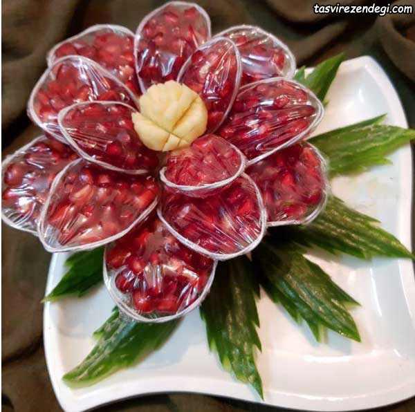 تزیین انار شب یلدا , تزیین انار به شکل گل رز