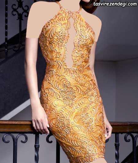 مدل لباس شب کوتاه طلایی