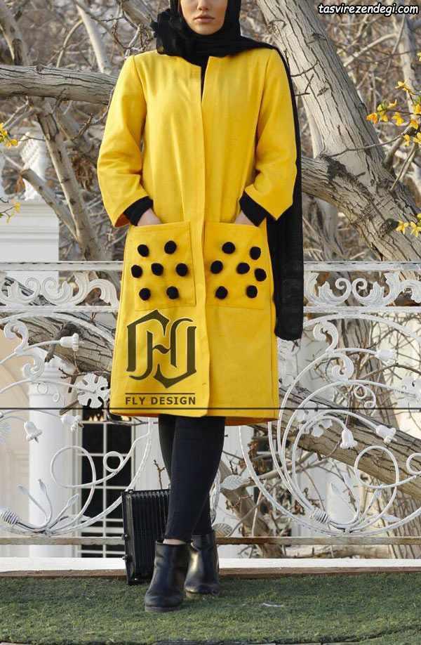 مانتو مجلسی زرد با گل برجسته مشکی