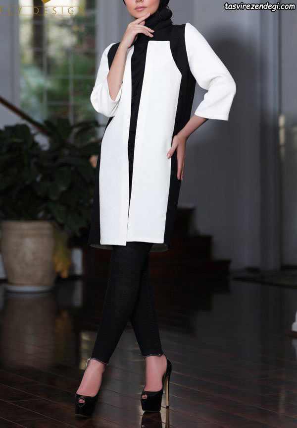 مدل مانتو سفید مشکی تنگ جلوباز