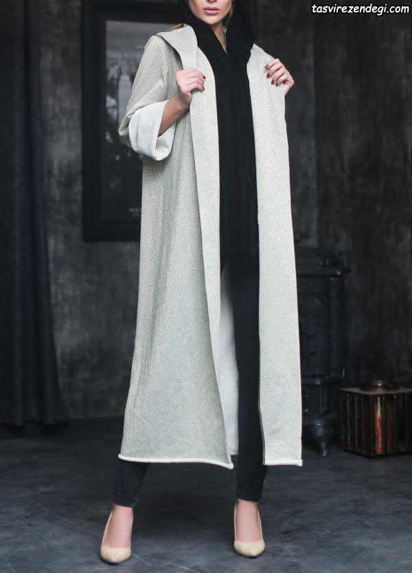 مدل مانتو سفید بلند راسته ساده
