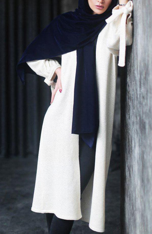 مدل مانتو سفید ساده جلوباز