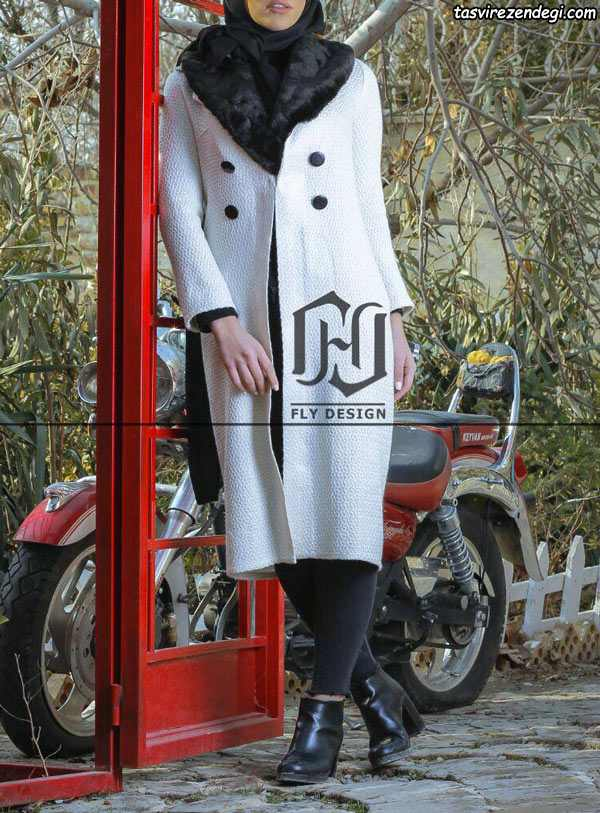 مدل مانتو سفید با دکمه مشکی
