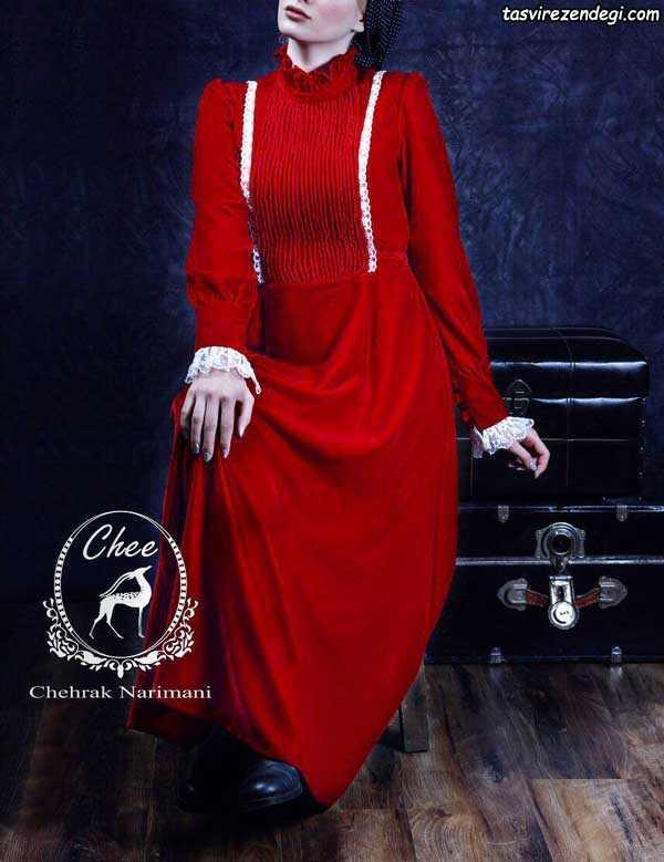 مانتو بلند قرمز مجلسی پاییزه